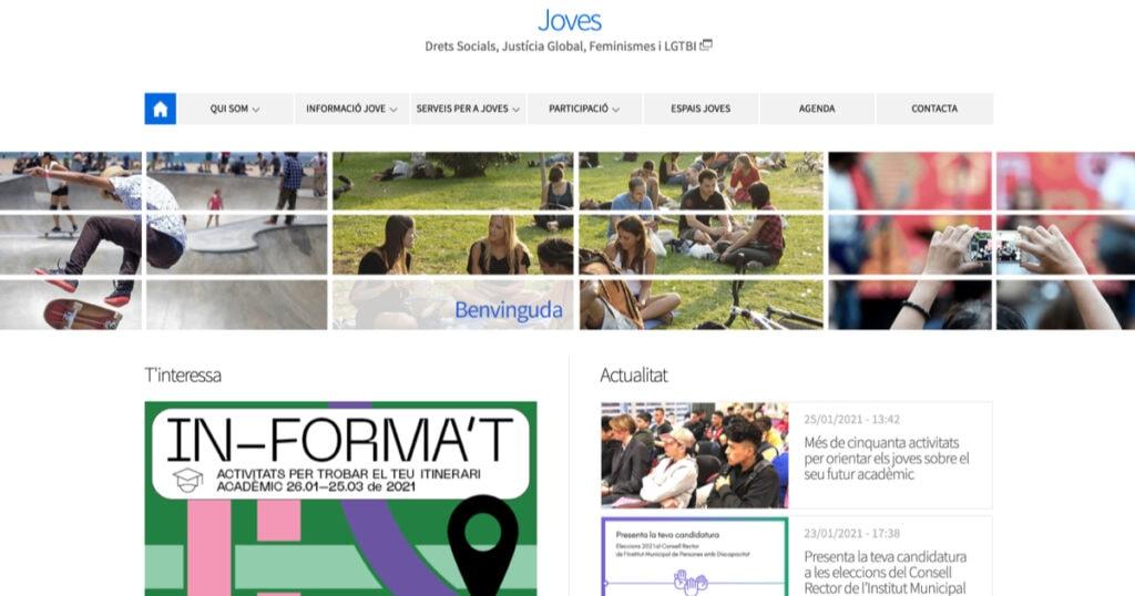 Portal web de Joventut de l'Ajuntament de Barcelona